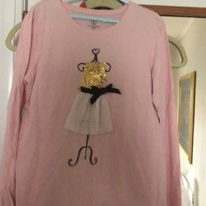 Lands End kids pink long sleeve top size M 10-12.